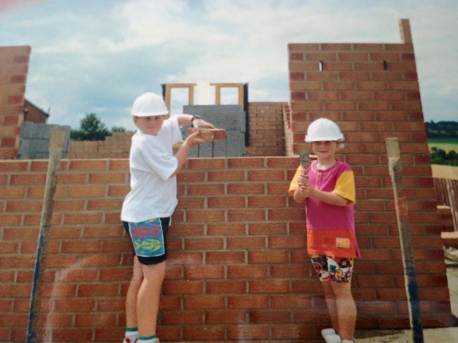 Laura and her brother at their Ben Bailey home in Mexborough in 1992